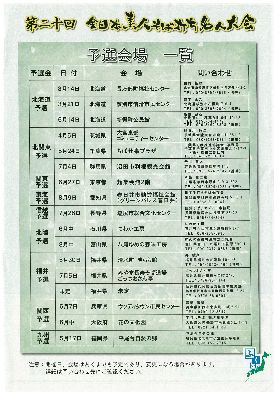 平成27年度(第20回大会)全日本素人そば打ち名人大会[予選会場一覧]